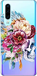 Suhctup Transparente Funda Compatible con Huawei View 10 Lite/Honor 8XCarcasa Protectora de TPU Ultradelgada Flor y Calavera Diseño Anti-Choques Resistente Case Cover para Huawei Honor 8X(9)