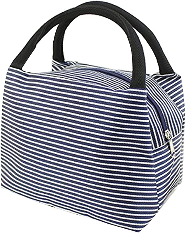 LEFV Lunch Bags Solid Useful Linen Cotton Stripe Fashion Tote Bag Grocery Handbag Travel Organizer Box Case Container Sundry Shopping Makeup Bags With Zipper Deep Blue