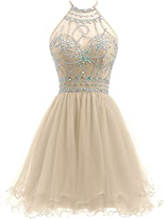 beaded halter homecoming dress