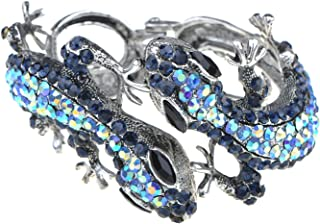 Silvery Golden Blue Topaz Multicolored Rhinestones Lizard Gecko Reptile Bangle Cuff Bracelet