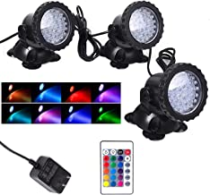 Pond Light Waterproof IP68 Underwater Color Changing Landscape Lights Dimmable Submersible Spotlight 36 LED Decorate Light...