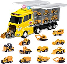 FUN LITTLE TOYS 12 in 1 Die-cast Construction Truck, Toy Car Play Vehicles in Carrier..