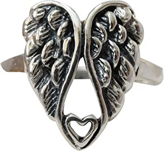 Sterling Silver Angel Wings Heart Ring, Sizes 5-10