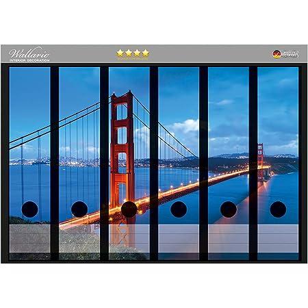Gr/ö/ße 36 x 30 cm passend f/ür 6 breite Ordnerr/ücken Wallario Ordnerr/ücken Sticker Golden Gate Bridge in San Francisco USA in Premiumqualit/ät