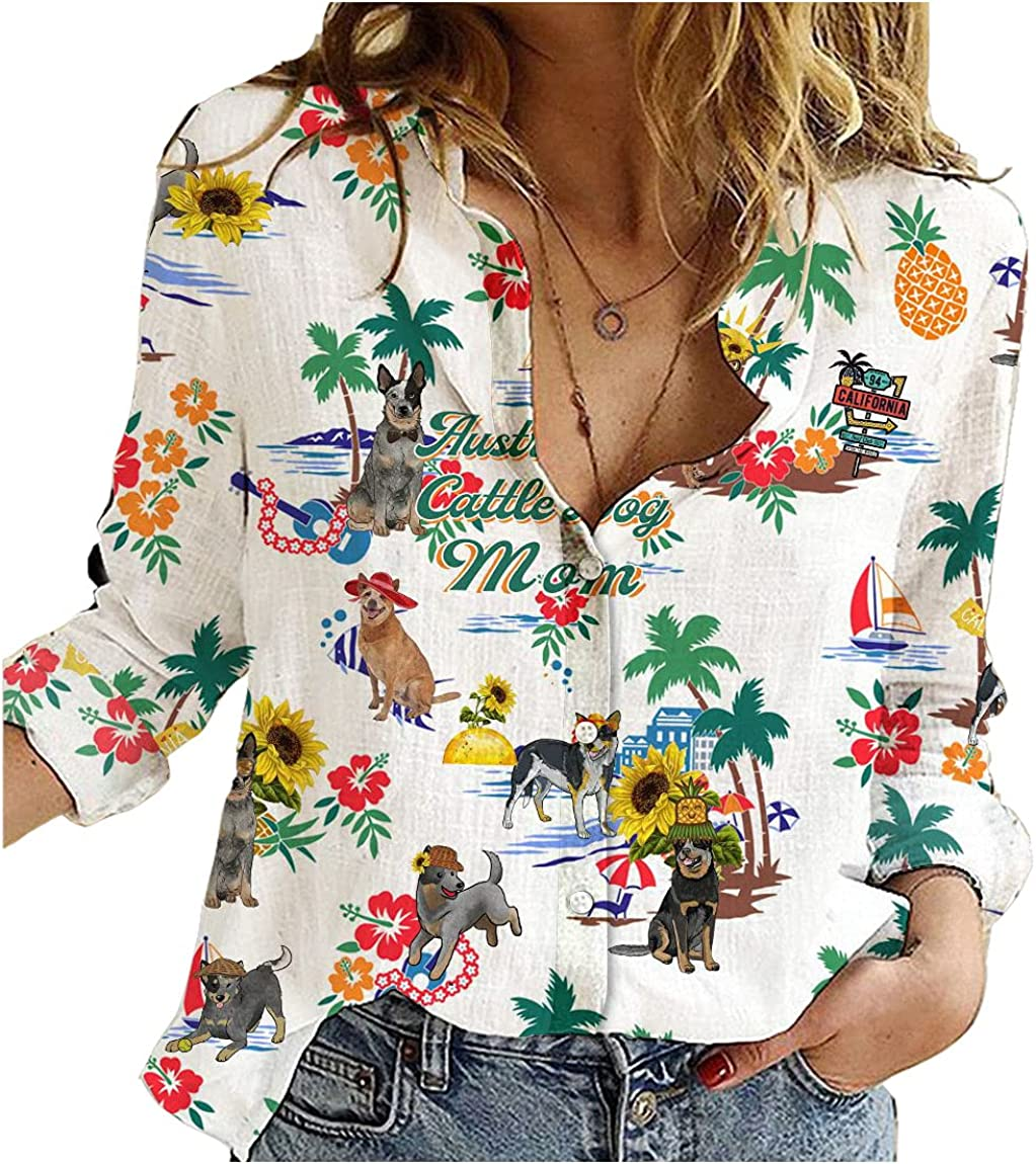 Australian Cattle Dog Cotton Linen Shirt Dog Mom Beach Womens Long Sleeve Button Down Cotton Linen Shirt Blouse Loose Fit Casual V-Neck Tops Full Size
