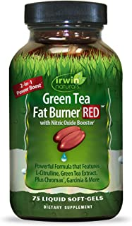 Irwin Naturals Green Tea Fat Burner RED with Nitric Oxide Booster - Healthy Weight Management & Diet Support - Boost Therm...