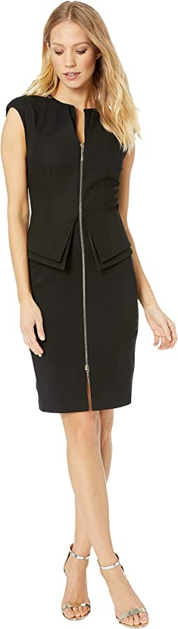 Structured Zip Peplum Dress