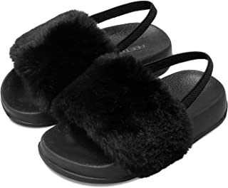 FEETCITY Girls Slippers Faux Fur Slide Toddler Furry Sandals with Elastic Back Strap Open Toe Slipper