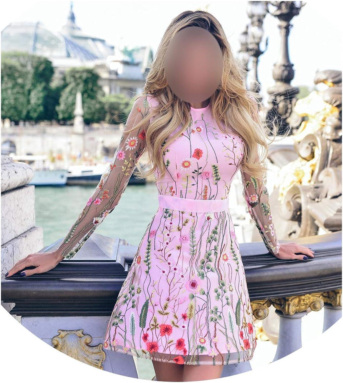 Meet fashion Women Floral Print Mini Dress Aline Mesh Boho Dress Office Lady Long Sleeve Embroidery Lace Dress