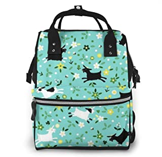 Goat Frolic Print Diaper Bag Backpack,Multi-Function Maternity Nappy Bags For Travel,Large Capacity,Waterproof,Durable And...