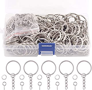 Swpeet 450Pcs 4/5 Inch 20mm Sliver Flat Key Chain Rings Kit, Including 150Pcs Split Keychain Rings with Chain and 150Pcs J...