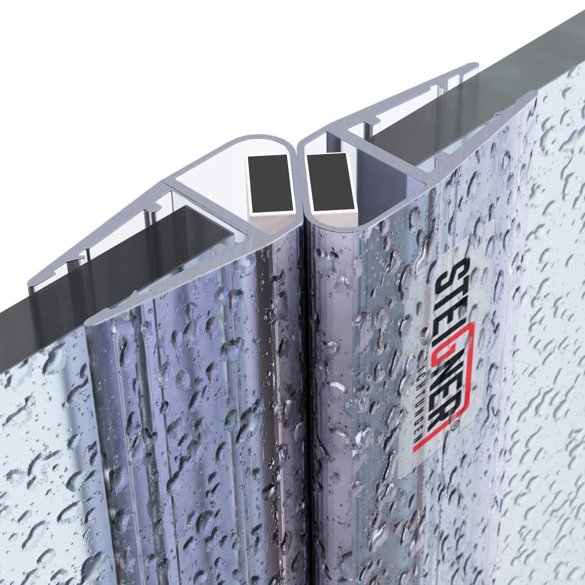 STEIGNER Juego de Juntas Magnéticas para la Puerta de Cabina de Ducha UKM03, 3,5/4/5 mm - 180 grados, 2 piezas, 201 cm: Amazon.es: Bricolaje y herramientas