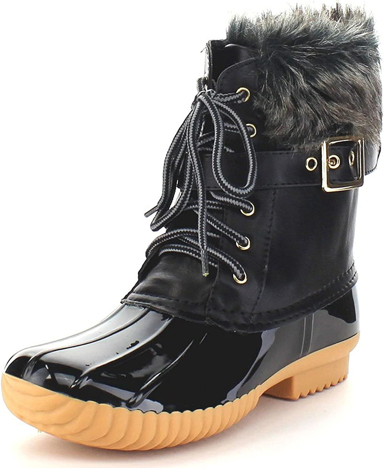 Nature Breeze Duck-01 Womens Chic Lace Up Buckled Duck Waterproof Snow Boots
