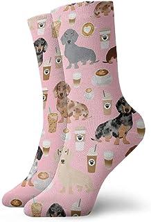 Calcetines de algodón acolchados para entrenamiento, senderismo, caminatas, deportes, para hombres y mujeres, color café y rosa