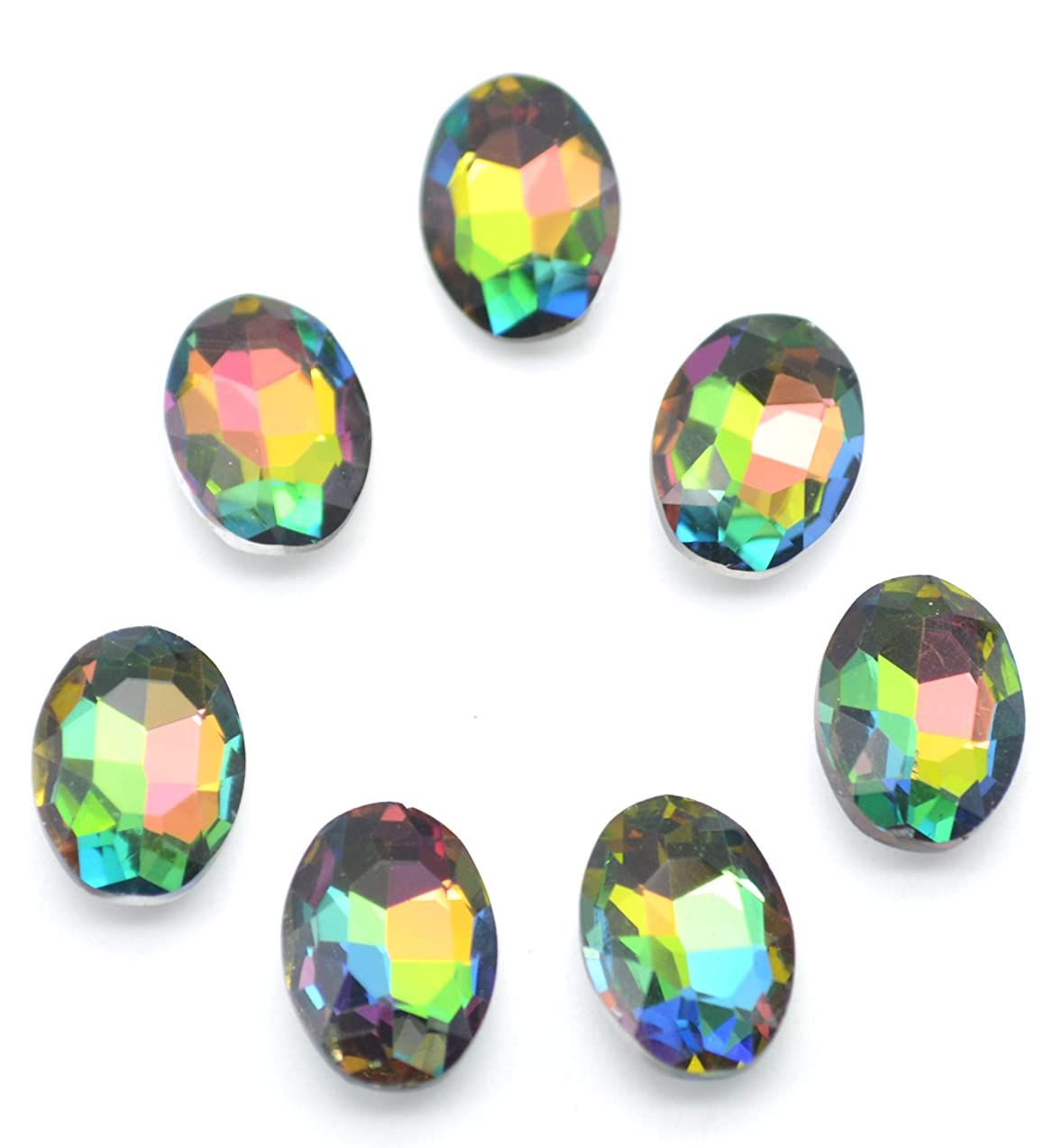 Catotrem Multifaceted Gemstone Ellipse Glass Beads Vibrant Color Diamante for DIY Project 10X14mm, 50pcs(Vitrail Medi)