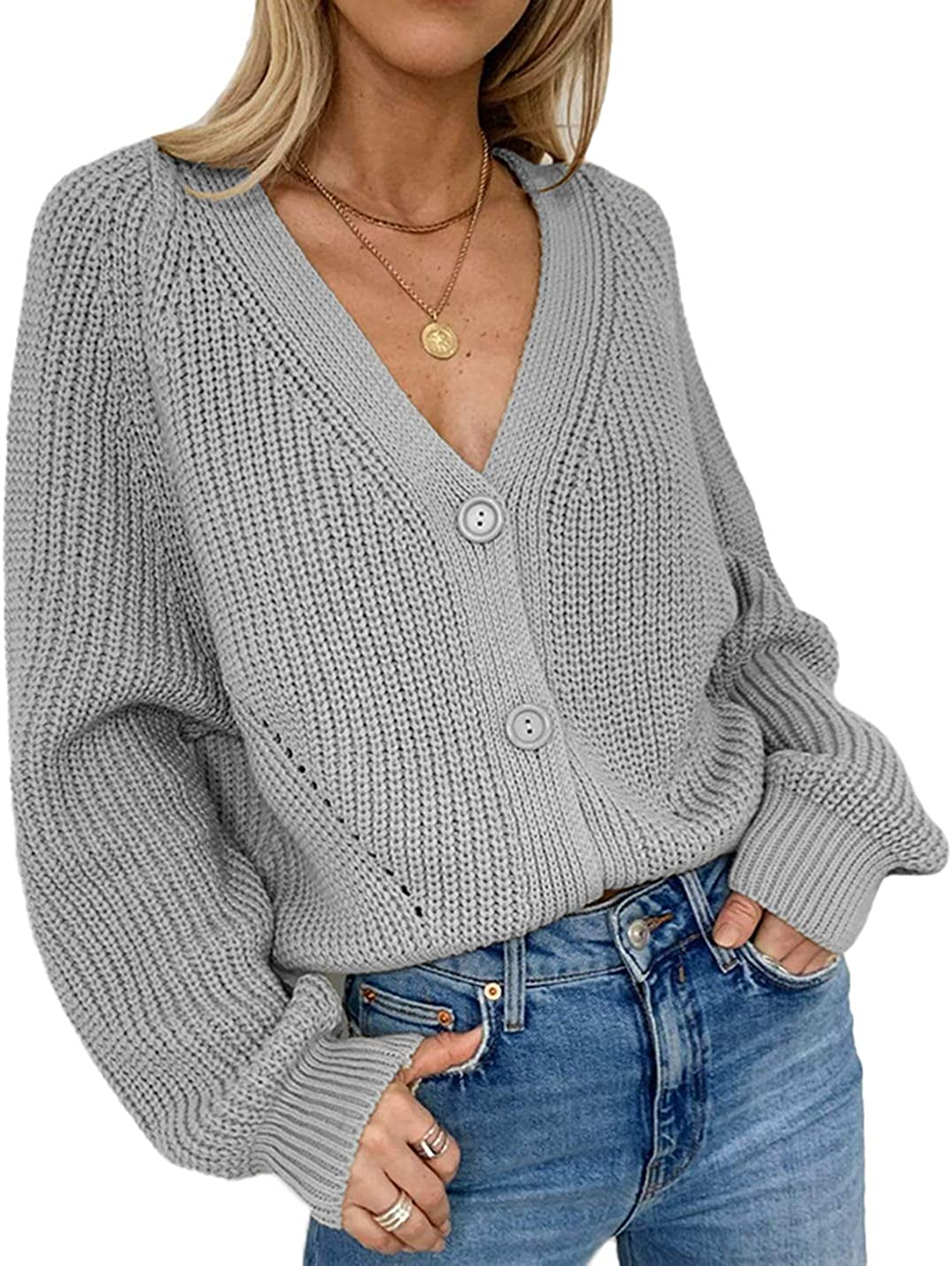 Uaneo Womens Ribbed Knit V-Neck Long Balloon Sleeve Button Down Cardigan Sweaters(Grey-XL)