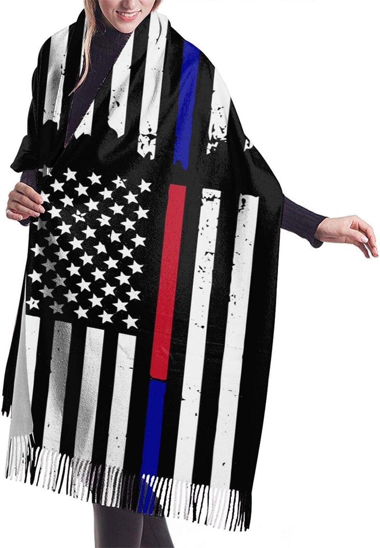 Womens Soft Cashmere Scarf,Thin Red Blue Line Flag Shawl Scarf,Premium Large Pashmina,Warm Wrap Cape Solid Shawl Elegant Wrap