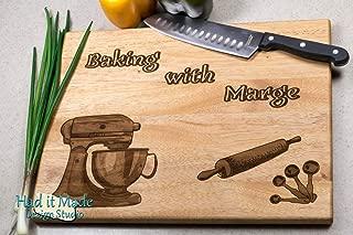 Baking, Rolling Pin, Mixer - Personalized Monogram Cutting Board, Engraved Cutting Board, Custom Cutting Board, Wood Cutting Board K2