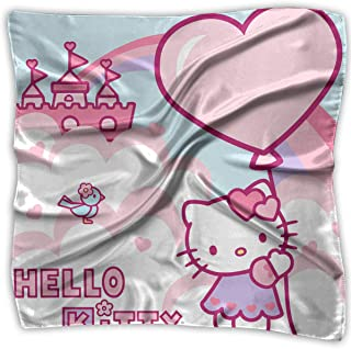2c5b55a42 Women Neckerchief Hello Kitty Holiday Satin Silk Feeling Formal Square Neck  Scarf Head Hair Scarfs Wraps