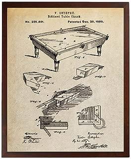 Turnip Designs Billiard Table Chuck Blueprint Art Patent Prints Pool Table Poster Game Room Wall Art TDP1069