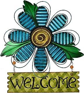 Attraction Design Welcome Sign for Front Door Decor Hanging Sign, Metal Flower Welcome Door Sign Wall Art Decor Hanging fo...
