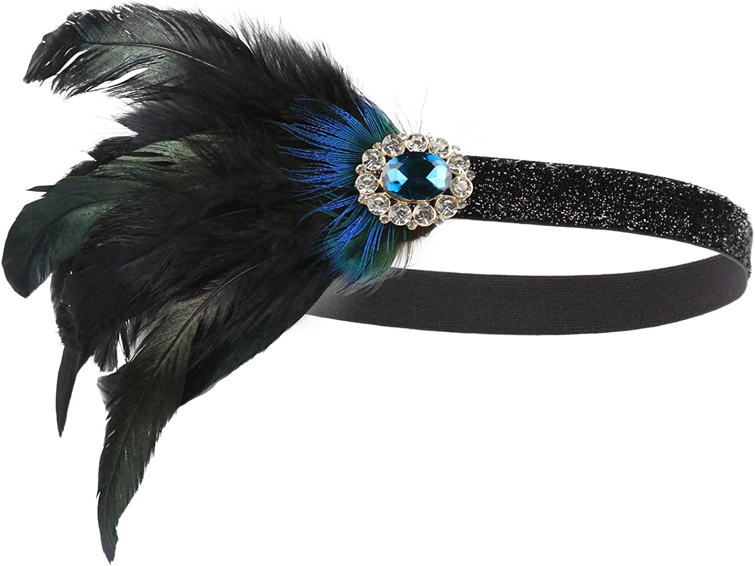 qanyue 1920s Headpiece for Women, Roaring 20s The Great Gatsby Party Flapper Headband