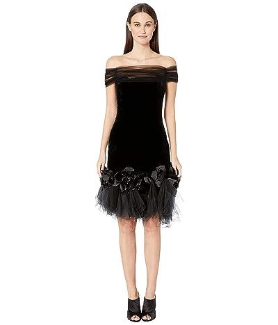 Marchesa Velvet Off the Shoulder Cocktail Dress with Shirred Tulle Neckline with 3D Velvet Roses (Black) Women