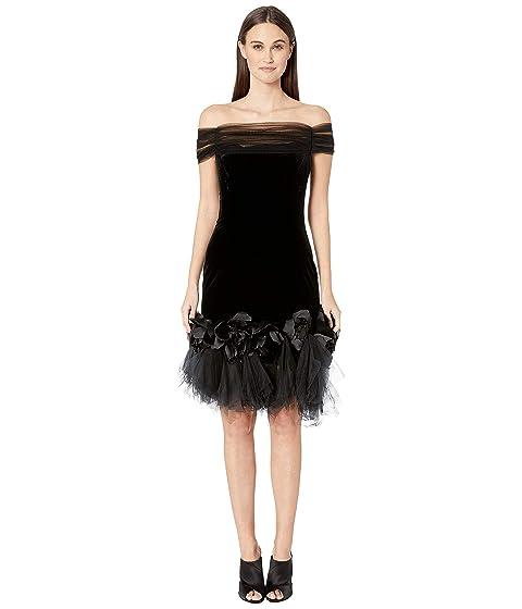 8a97eff45f3 Marchesa Velvet Off the Shoulder Cocktail Dress with Shirred Tulle Neckline  with 3D Velvet Roses