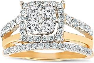 1 1/10 Ct Diamond Cushion Halo Engagement Ring Wedding Set 10k Yellow Gold