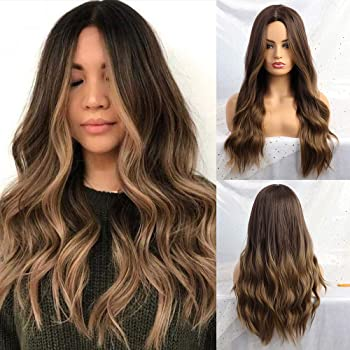 24 Inches Ombre Brown Wig Synthetic Long Wigs for Women Natural Wave Hair Wigs Middle Part Heat Resistant Natural Looking Wigs