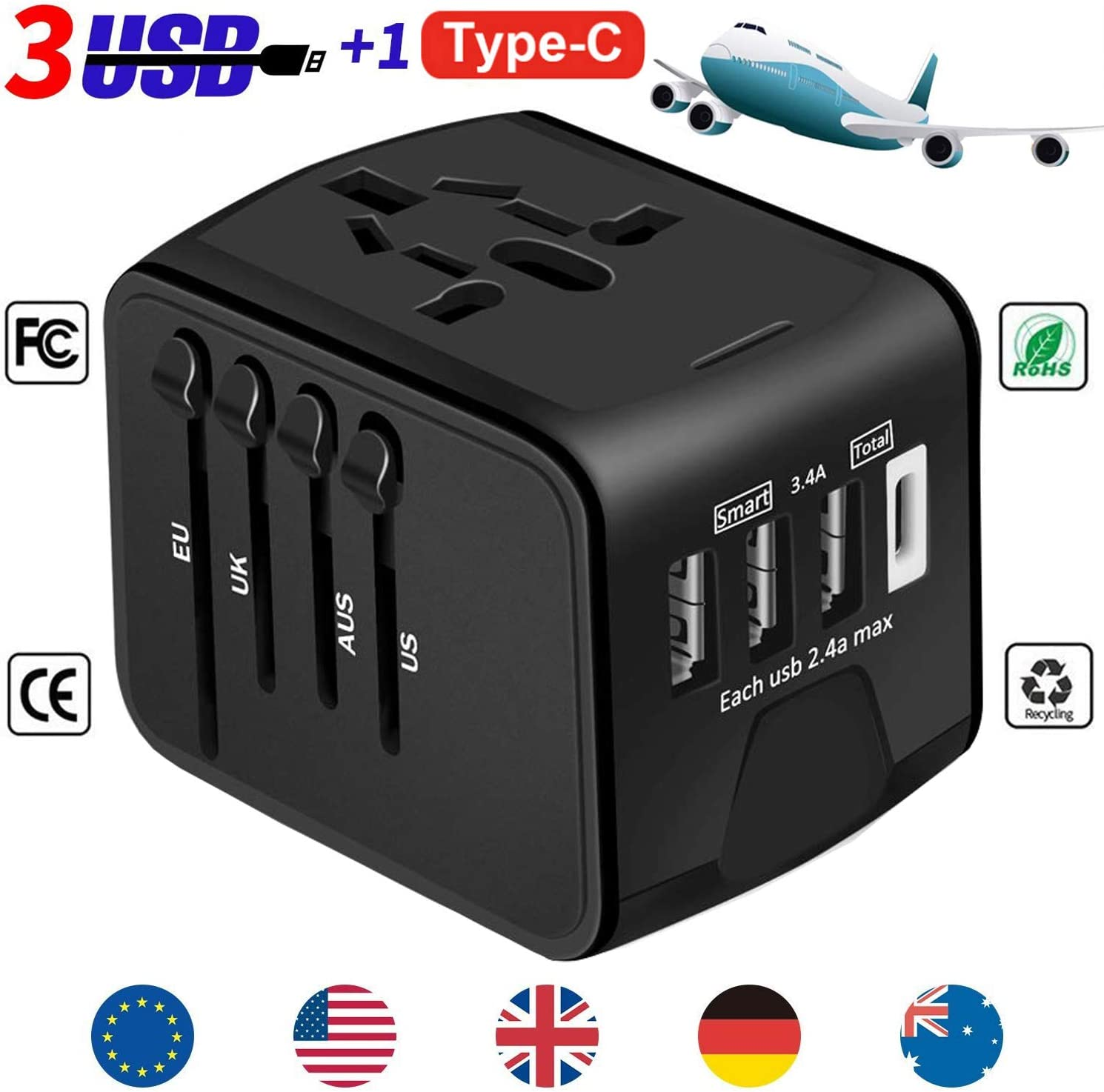 YooGoal Universal Travel Adapter Quick USB Charger with 1 Type C and 3 USB Ports International World Power Plug Adapter Kit Charger USB Plug with UK, EU, AU, CN,US for 200 Countries (Black)
