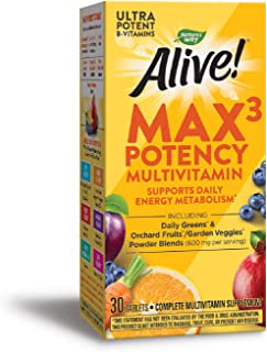 Sponsored Ad - Nature's Way Alive! Premium Max3 Daily Multivitamin Energizer, No Added Iron, 30 Tablets
