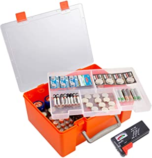 Battery Storage Organizer Holder with Battery Tester Checker, 120+ Storage Containers Box Case Fits for AA AAA 9V C D Lith...