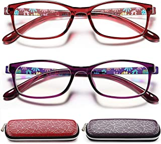 Reading Glasses Womens Blue Light Blocking - 2 Pairs Ladies Computer Readers Quality Colorful Eyeglass +1.25