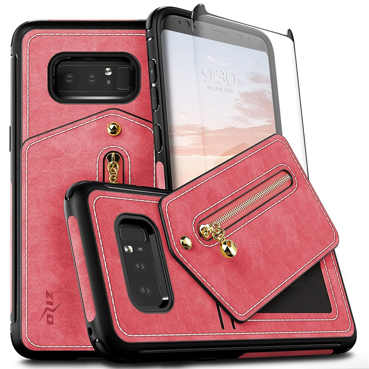 Zizo Nebula Wallet Series Compatible with Samsung Galaxy Note 8 Case with Tempered Glass Screen Protector Leather Folio Card Slots Pink Black