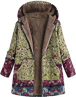 Blivener Parka para mujer, invierno, cálida, gruesa, para exterior, chaqueta con estampado de flores, con capucha, bolsill...