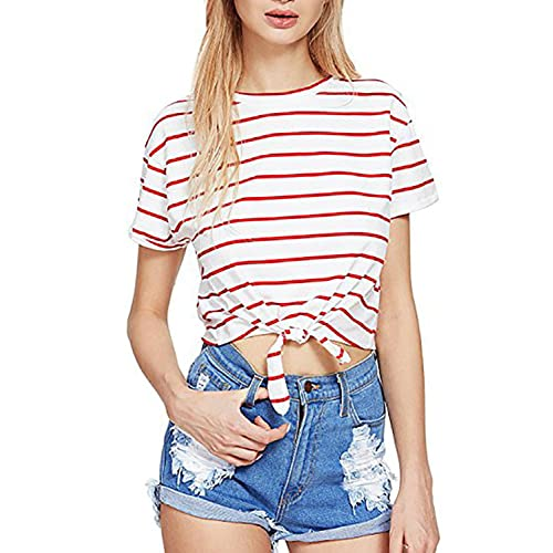 9732d721fa51d PERSUN Women s T-Shirt Loose Short Sleeve Crop Tops
