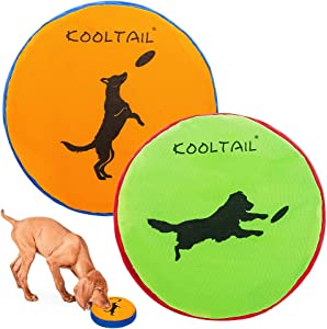 Dog Flying Disc 2 Packs - Durable Interactive Dog Toys Dog Fetch Toy, Indestructible & Soft, Waterproof & Float in Water