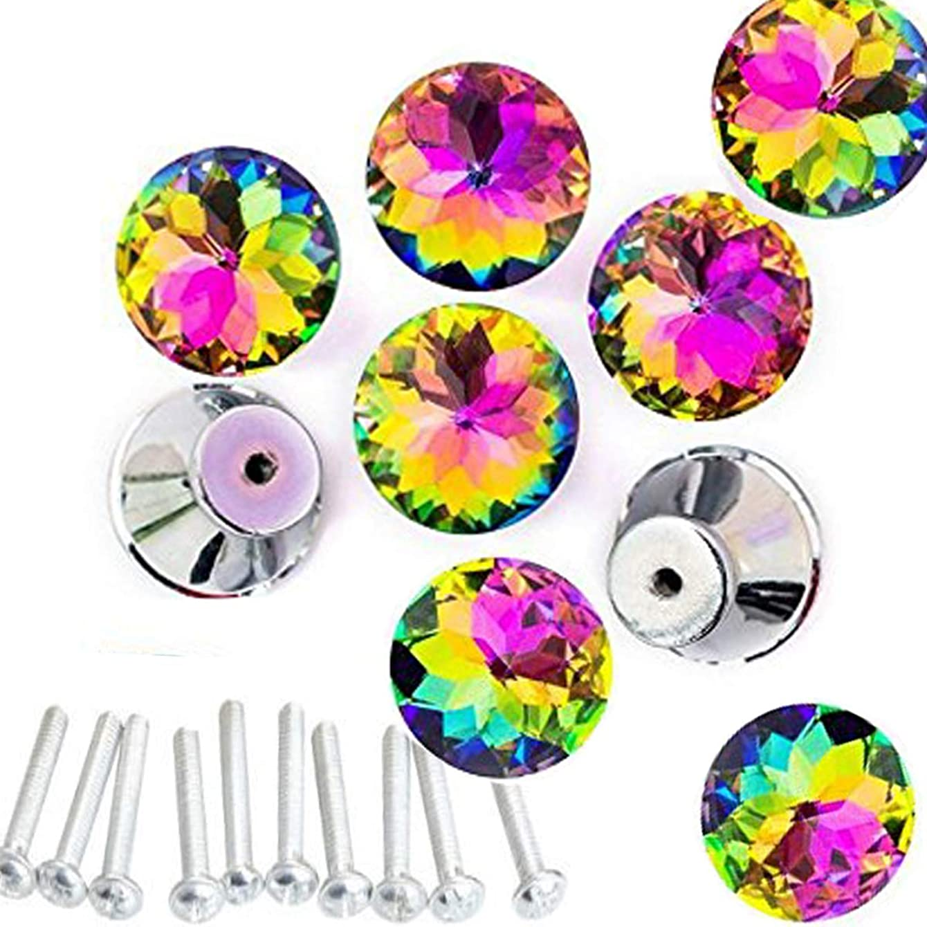 HOSL 10pcs Colorful Crystal Glass Cupboard Wardrobe Cabinet Drawer Knob Door Pull Handle