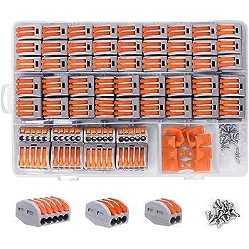 shirylzee Compact Connettore,Morsettiere elettriche 120 pcs impermeabile Capicorda a Morsetto a Leva Connettore cavo elettrico Kit Wire Terminals Collegamenti Elettrici Splitter 2/3/5 poli