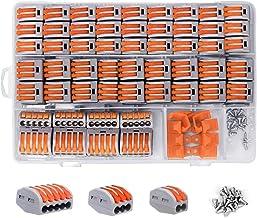shirylzee Compacte draadconnectoren, elektrische connectorblokken 120 stuks compacte splitsingsconnectoren hefboom moer as...