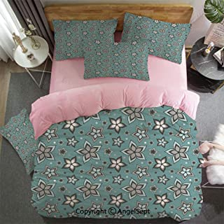 4 Piece Bed Sheets Set Nature Beauty Floret Motif Elegance Botany Bouquet Essence Fragrance Theme Hypoallergenic, Easy To Care, Fade, Stain And Wrinkle Resistant, King Size Light Grey Turquoise
