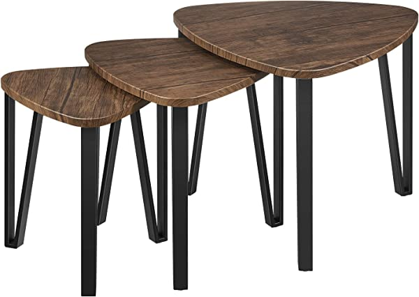 Kealive Nesting Coffee Table Industrial Style Set Of 3 Stacking Nesting Tables MDF Tabletop And Sturdy Metal Hairpin Legs End Side Table Nightstand For Bedroom Or Small Space Wood Grain