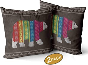 Nine City Polar Bear Wearing Sweater on The Knitting Pattern Pillow Case,Happy New Year Sofa Bed Throw Cushion Cover Decoration,22