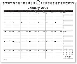 Nekmit 2020 Monthly Wall Calendar, Wirebound, Ruled Blocks,15 x 12 Inches, Black
