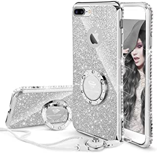 Cute iPhone 8 Plus Case, Cute iPhone 7 Plus Case, Glitter Bling Diamond Rhinestone Bumper with Ring Grip Kickstand Protective Thin Girly iPhone 8 Plus/ 7 Plus Case for Women Girl - Silver