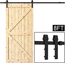 WBHome SDH-2438-BK 8FT Sliding Barn Door Hardware Kit Black Antique Smooth and Quiet Steel Track Set