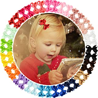 "40pcs 2"" Mini Hair Bows Grosgrain Ribbon Hair Bows Clips Hair Bows Fully Lined Clips Hair Accessories for Baby Girls Toddl..."