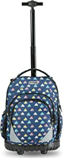 HollyHOME Rolling Backpack 18 inch Students Multifunction Waterproof Wheeled Large Storage Laptop, Boat