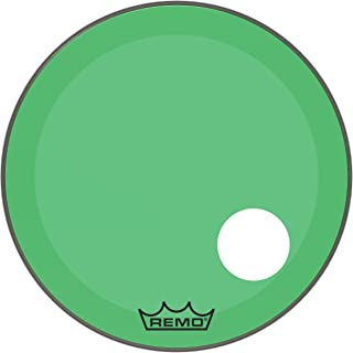 """Remo Powerstroke P3 Colortone Green Bass Drumhead, 24"""", 5"""" Offset Hole"""